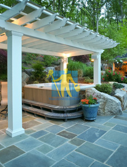 bluestone outdoor traditional patio irregular shape white grout lines sealing