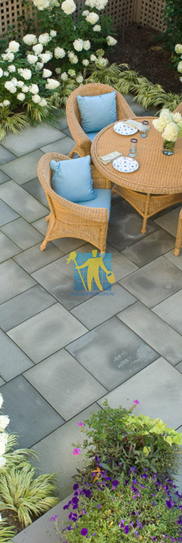 bluestone tiles eclectic landscape terrace grey dark grout