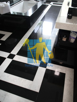 absolute black granite slab floor with white quartzite bands Adelaide