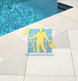 outdoor sandstone tile pool snow white Hazelwood Park