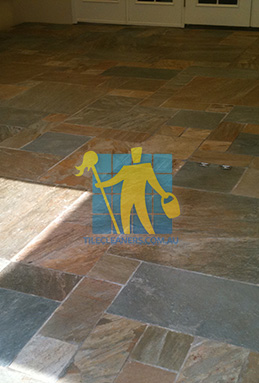 clean slate tiles unsealed after stripping and cleaning Adelaide cleaning