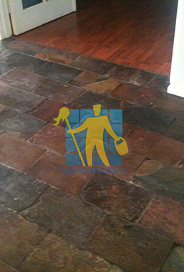 dirty and dull looking slate tiles requires stripping and sealing Adelaide cleaning