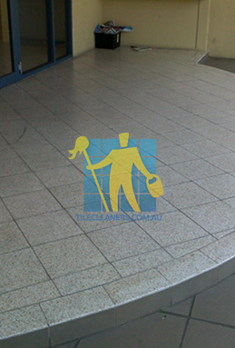 terrazzo tiles outdoor floor entrance curved dirty before cleaning Adelaide